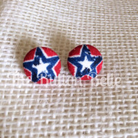 America the Beautiful Cover Button Earrings