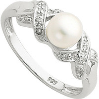 6mm Cultured Button Pearl and Diamond Ring in Sterling Silver and Rhodium Meijer.com