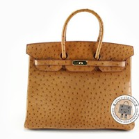 Authentic Hermes Birkin 35 Gold CC37 Ostrich Tote Bag Ghw MPRS Brown Natural