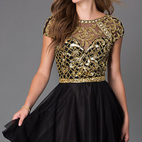 Short Cap Sleeve Open Back Primavera Homecoming Dress