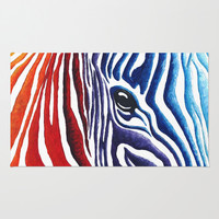 Colorful Stripes Original Abstract Art Zebra Painting by MADART Area & Throw Rug by Megan Aroon Duncanson ~ MADART