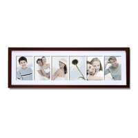 Decorative Walnut Wood Wall Hanging Picture Photo Frame with Mat (6 Opening) 4x6 [PF0286]