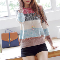 funshop — Mixed Color Stripes Sweater for Women