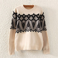 Beige Geometric Printed Knitted Sweater