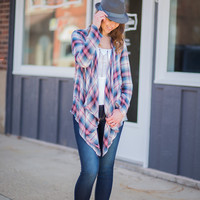 Pink & Blue Plaid Cardigan