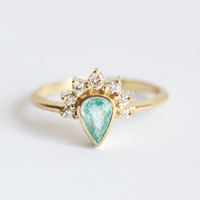 Paraiba Tourmaline Ring, Paraiba Engagement Ring, Pear Diamond Ring, Pear Engagement, Unique Engagement Ring, Mint Engagement