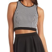 Cropped Houndstooth Tank Top by Charlotte Russe - Black Combo