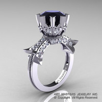 Modern Vintage 14K White Gold 3.0 Ct Black and White Diamond Solitaire Engagement Ring R253-14KWGDBD