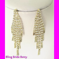 Designer Look Retro Chandelier Bridal Crystal Earrings and W Gold Tone