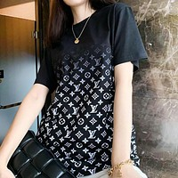 LV New fashion monogram print gradient women top shirt
