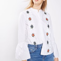 Embroidered Scallop Shirt   Topshop