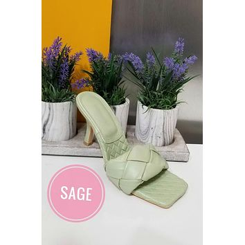 Sage Woven Mules