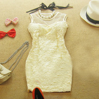 TEMPERAMENT SEXY LACE PACKAGE HIP DRESS Beige