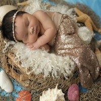 Mambobaby Designer Baby Newborn Girl Photograph Prop Costume Solid Color Sequins Little Mermaid Tail Prop Costume