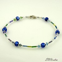 Sapphire Twist Crystal Beaded Anklet
