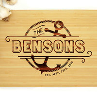 Personalized Cutting Board, Custom Anniversary Gift, Anchor Nautical Badge, Family Name, Kitchen Decor, Housewarming Gift, Fathers Day
