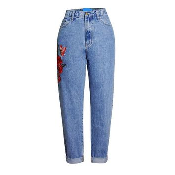 2121 Jeans For Women 2017 Ladies's Vintage Embroider Flowers jeans Ripped Boyfriend Jeans Female Trousers high waist Jeans
