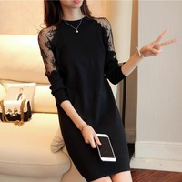 Fashion 2018 Women Autumn Winter Sweater Dresses Slim O-neck Sexy Lace Patchwork Bodycon Solid Color Robe Knitted Dress