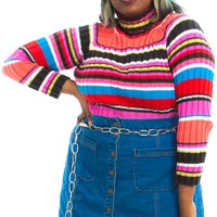 Vintage 90's Tropical Crayon Striped Turtleneck Sweater - XL/2X
