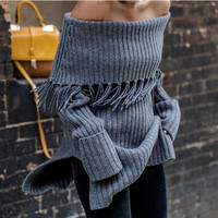 2016 cool winter sexy off shoulder Sweater dress Christmas new year party dress tassel Long sleeve slash neck Knitwear outfits
