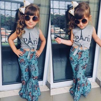 2Pcs Summer Kids Baby Girl Clothes Toddler Vest Tops+Long Wide Leg Pants Outfits