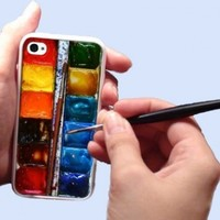 Watercolor painting Box palette Design iPhone 4 iPhone 4s Case Silicone Rubber