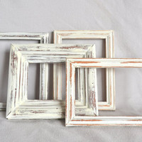 Shabby Chic White Wooden Frames - Set of 4