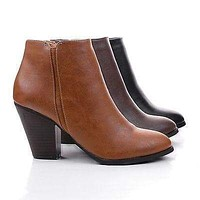 Tevay By Classified, Almond Toe Chelsea Inspired Block Stacked Heel Ankle Boots