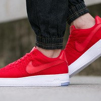 Originals Nike Air Force One 1 Flyknit Low Red / White Running Sport Casual Shoes '07 817419-100 Sneakers