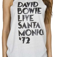 David Bowie 72 Raglan Women's Cropped Tank Shirt by Junk Food at OldSchoolTees.com | Free Shipping on orders over $30