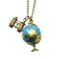 Zehui Fashion Jewelry Vintage Bronze Globe Telescope Charm Necklace Pendant
