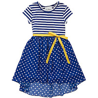 Rare Editions 7-16 Striped/Dotted Dress - Navy