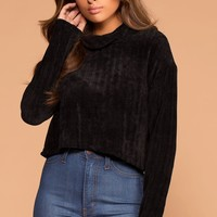 Grace Black Knit Crop Turtleneck Sweater
