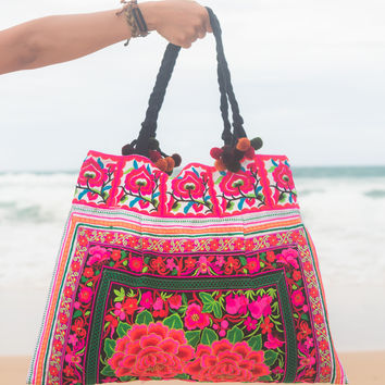 Ethnic Beach Tote Bag with Flower Hmong Embroidered
