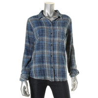 Current/Elliott Womens Plaid Button Down Button-Down Top