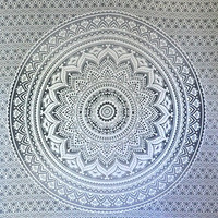 """Exclusive """"Gray Ombre Tapestry by JaipurHandloom"""" Mandala Tapestry, Queen, Multi Color Indian Mandala Wall Art, Hippie Wall Hanging, Bohemian Bedspread"""