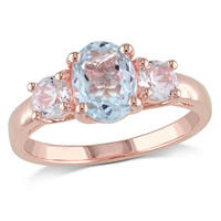 Oval Aquamarine and Lab-Created White Sapphire Three Stone Ring in Rose Rhodium Plated Sterling Silver