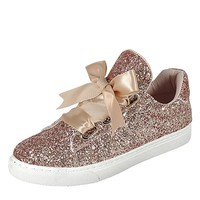 Womens Round Toe Ribbon Bow Lace Up Glitter Fitness Gym Trainer Fashion Sneakers