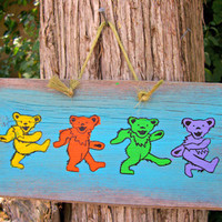 GRATEFUL DEAD Dancing BEARS Barn Wood Sign Hand Painted Plaque Primitive Wall hanging Decor  Reclaimed HandPainted Rock and Roll