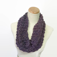 Purple Cowl, Hand Knit Cowl, Knit Scarf, Cowl, Infinity Scarf, Fashion Accessory, Women's Scarf, Circle Scarf, Christmas Gift