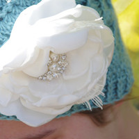 French Blue ~ Knitted Cloche Hat Crocheted Flower Beanie Accessories Blue