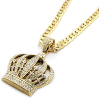 ICED OUT CROWN NECKLACE