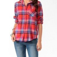 Relaxed Madras Plaid Flannel Shirt