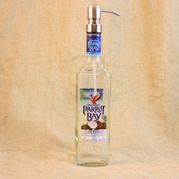 Soap Pump Upcycled From Captain Morgan Parrot Bay Coconut Bottle, Recycled Liquor Bottle, Liquor Bottle Soap Pump, Soap Dispenser