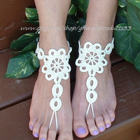 Lace Barefoot Sandal, Foot Jewelry, Anklet Lace, Ivory Barefoot Sandal, Victorian Lace, Bridal Anklet, Ivory Gold Anklet, French Sandal