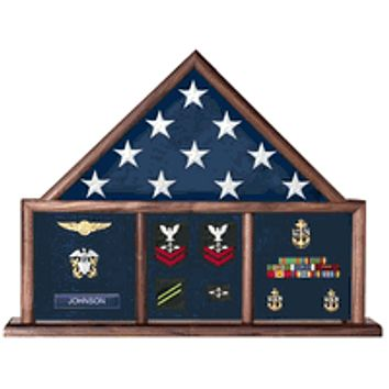 Memorial Flag Case, Three Bay shadow box comes with a red, black, blue or green background