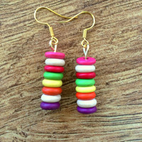 Colorful Bar Earrings, Gold Earrings, Boho Earrings, Dangle Earrings, Happy Earrings, Versatile, Summer Earrings