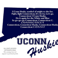 Connecticut Huskies State Map Uconn Sports Fight Song Art Print Gift Home Decor Wall Art 8 x 10