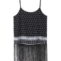 Printed Spaghetti Strap Fringed Top
