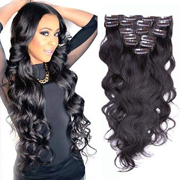 Brazilian Clip In Human Hair Extensions 7/8/10Pcs/Set Full Head Brazilian Body Wave Clip In Hair Extensions 20 inches